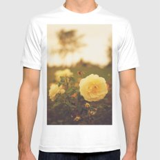 Yellow Roses White Mens Fitted Tee SMALL