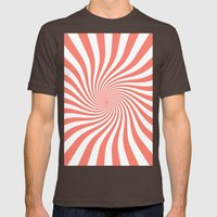 Swirl (Salmon/White) Mens Fitted Tee Brown SMALL