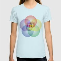 Colored Circles Womens Fitted Tee Light Blue SMALL