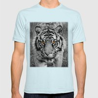 TIGER PORTRAIT Mens Fitted Tee Light Blue SMALL