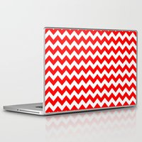 chevron Laptop & iPad Skins featuring Chevron (Red/White) by 10813 Apparel