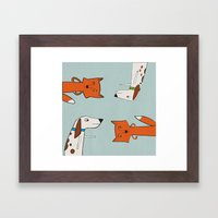 The fox and the hound look disgruntled at one another. Framed Art Print