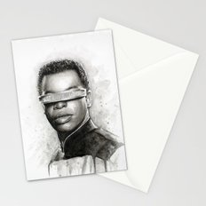 Geordi La Forge Star Trek Art Stationery Cards