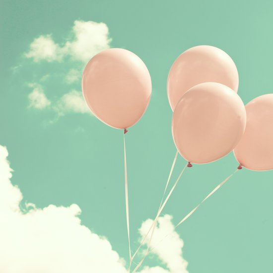 Soft Pink Balloons on Soft Blue - Turquoise Sky  Art Print