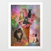 The cat's that got the cream! Art Print
