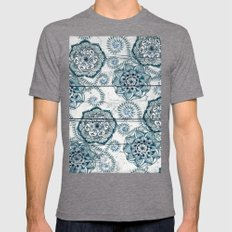 Navy Blue Floral Doodles… Mens Fitted Tee Tri-Grey SMALL