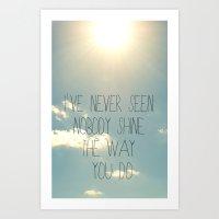 lyrics Art Prints featuring sky lyrics by shans