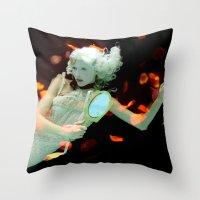 Girl Floating Throw Pillow