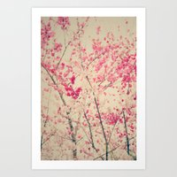 Abstract Spring Branches with Pink Blossoms Art Print