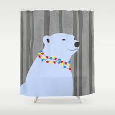Holiday Season Polar Bear Shower Curtain