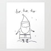 Christmas Ho, Ho, Ho (blk/wht) Art Print