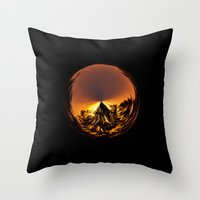 Sunset in the globe Throw Pillow