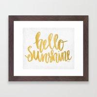 Hello Sunshine Gold and White Framed Art Print