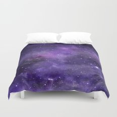 Purple Watercolor Space Pattern Duvet Cover