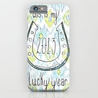 iPhone & iPod Case featuring 2013 - My Lucky Year Print, hand lettered horse-shoe by JMore