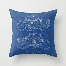 Motorcycle Blueprint Throw Pillow