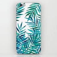 Watercolor Palm Leaves on White iPhone & iPod Skin