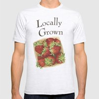 Strawberries Mens Fitted Tee Ash Grey SMALL