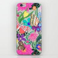 Butterflies and Moths Pattern - Grey iPhone & iPod Skin