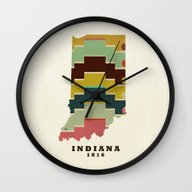 Indiana State Map Modern Wall Clock