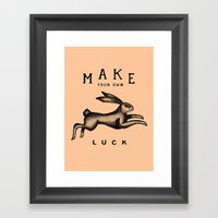 MAKE YOUR OWN LUCK (Coral) Framed Art Print