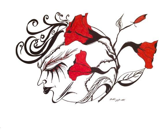 A Flowered Face Art Print