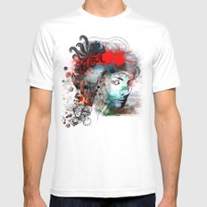Red Mens Fitted Tee SMALL White