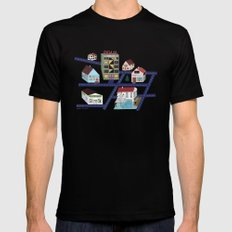 Little Town Pattern Mens Fitted Tee Black SMALL