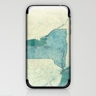 New York Map Blue Vintag… iPhone & iPod Skin