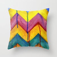 Watercolor Chevron Throw Pillow