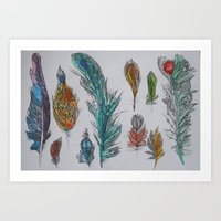 Zen Feathers Art Print
