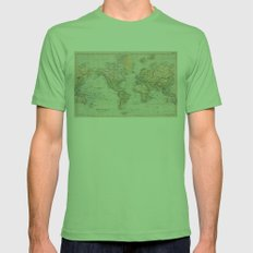 Vintage Map Of The World… Mens Fitted Tee Grass SMALL