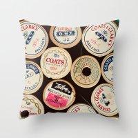 Vintage Spools Throw Pillow