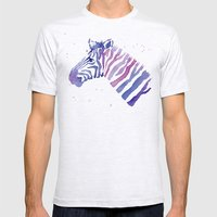 Zebra Watercolor Purple Stripes Mens Fitted Tee Ash Grey SMALL