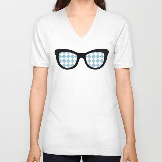 Diamond Eyes on Blue V-neck T-shirt