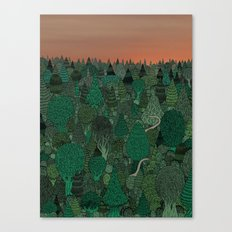Two dinosaurs looking for each other in a forest... Canvas Print