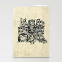owls Stationery Cards featuring Nine Owls by Rachel Caldwell