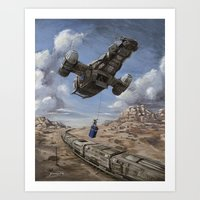 doctor Art Prints featuring The Time Job - Firefly + Doctor Who  by Sumrow