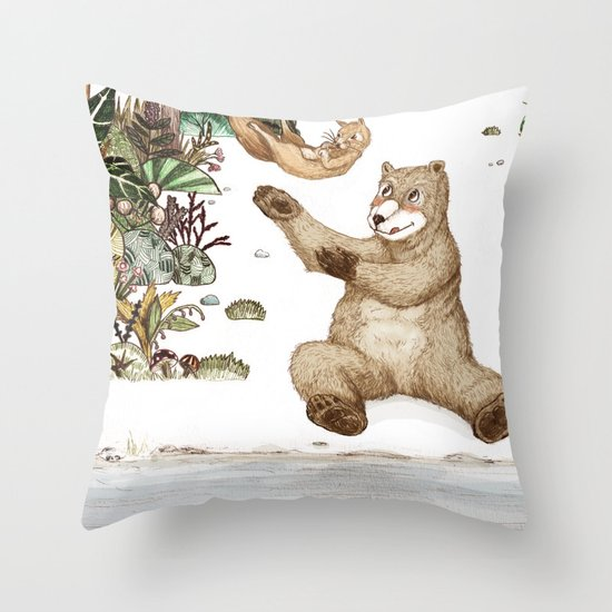 Mr.Brown is playing with the squirrel Throw Pillow