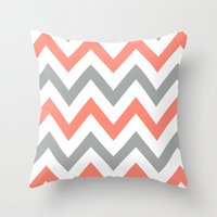 Coral & Gray Chevron Throw Pillow
