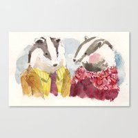 Canvas Print featuring Badger Couple by Becca Kallem