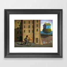 A green and blue house Framed Art Print