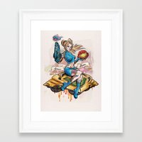 Pinup Samus Tattoo Bomber Girl Framed Art Print