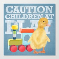 A Duckling With A Wood C… Canvas Print