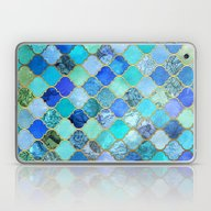 Cobalt Blue, Aqua & Gold… Laptop & iPad Skin