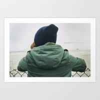 Girl On Beach. Art Print
