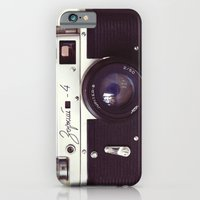 iPhone Cases featuring Zorki vintage camera by bomobob