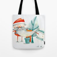 Santa and friend Tote Bag