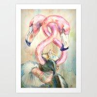 Flamingo Eyes Art Print