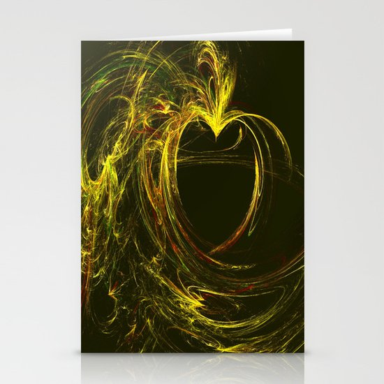 Golden Heart Stationery Card